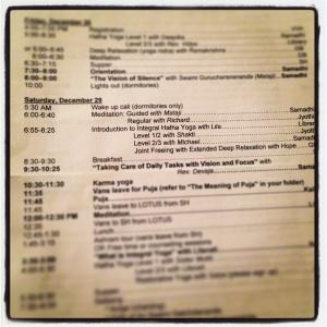 super detailed ashram schedule