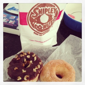 shipley's chocolate iced nut and cinnamon sugar donuts; photo by salem pearce (via instagram)