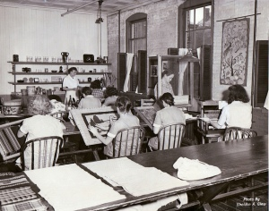 rug hooking class at MCI-Framingham, 1948; photo via Framingham Public Library
