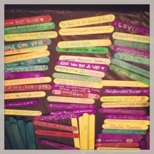 popsicle stick craft project at froman's memorial: write a word, phrase, or design that reminds you of Elissa; photo by salem pearce via instagram