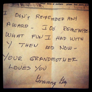 a note from my grandmother, in her familiar handwriting, about the picture of us (above) that won a Mother's Day photo contest in the Houston Post; photo by salem pearce via instagram