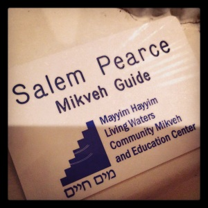 mayyim hayyim nametag; photo by salem pearce via instagram