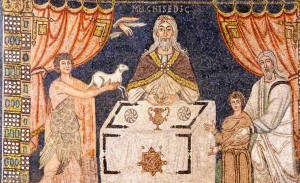 Malchitzedek as priest -- with Abel and lamb and Abraham and Isaac. Mosaic at Basilica of St. Vitale in Ravenna, Italy.